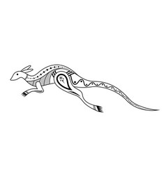 Kangaroo aboriginal art style monochrome isolated vector