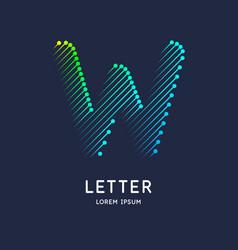 Letter w latin alphabet display vector