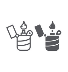 lighter line and glyph icon fire and burn flame vector image