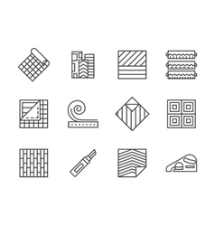 Linoleum flooring black line icons set vector