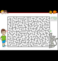 Maze game with boy and his pet cat vector