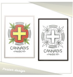 Medical marijuana poster six vector
