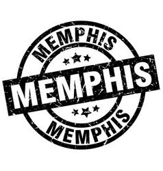 Memphis black round grunge stamp vector