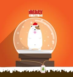 Merry Christmas dog in snow globe vector