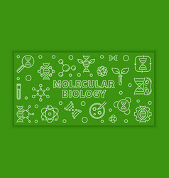 Molecular biology green line banner or vector