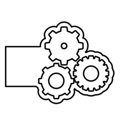 Monochrome contour with gear of wheels and banner vector