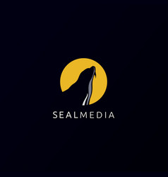 moon and fur seal logo icon template vector image