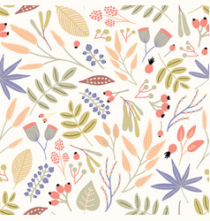 motley seamless pattern with berries leaves and vector image