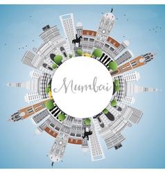 Mumbai Skyline with Gray Landmarks vector
