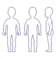 Outlined Standing Girl View vector