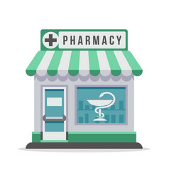 Pharmacy city building exterior front view vector