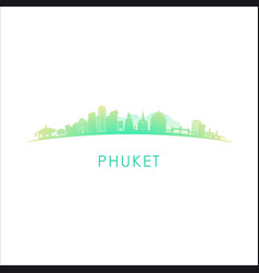 Phuket skyline silhouette design colorful vector