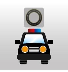 Police car front circle road way design vector