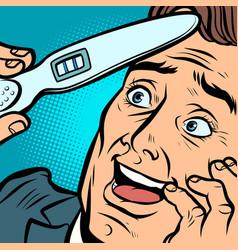 Pregnancy test joyful man husband father vector