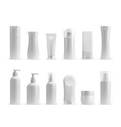 realistic cosmetic bottles cream jar and tube vector image