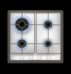 realistic detailed 3d gas stove on a black vector image