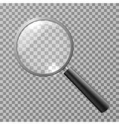 Realistic magnifying glass isolated on checkered vector image