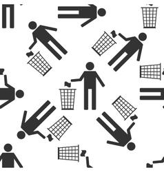 Recycle icon man throwing trash into dustbin icon vector image