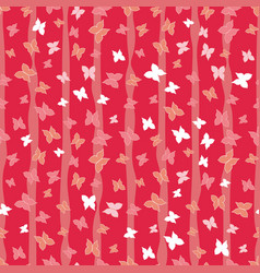 red butterflies forest seamless pattern vector image