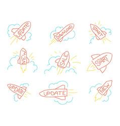 Rocket sketch hand drawn stock upgrade update vector