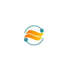 Round wave abstract technology company logo vector