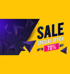 sale banner design template with realistic 3d vector image