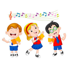 School children singing vector