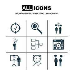 set of 9 executive icons includes project vector image