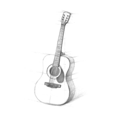 Sketch of guitars on a white background vector