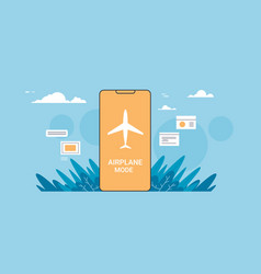 smartphone screen with flight mode rules of vector image