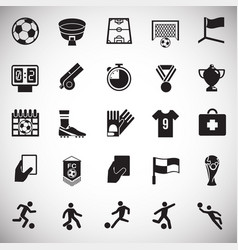 Soccer icons set on white background for graphic vector