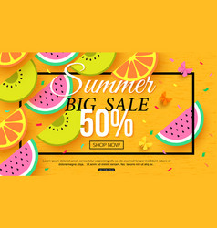 Summer sale banner with slices of fruit on yellow vector
