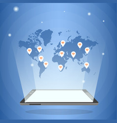 tablet computer with world map in its light vector image