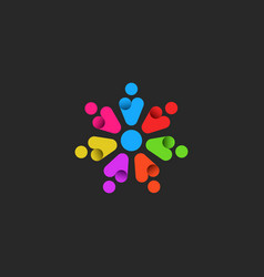teamwork logo emblem a community motivated vector image