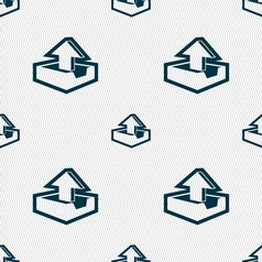 Upload icon sign Seamless pattern with geometric vector image