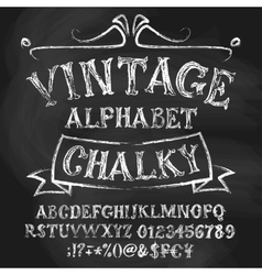 Vintage chalk alphabetical set vector