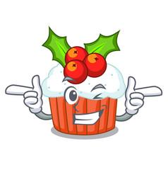 Wink cartoon homemade christmas cupcakes with vector