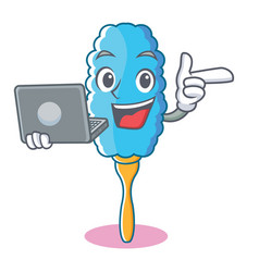 with laptop feather duster character cartoon vector image
