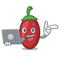 With laptop goji berries character cartoon vector