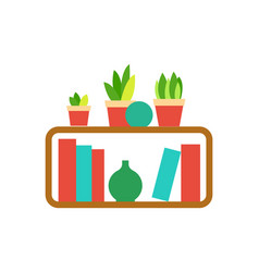 Wooden shelf with houseplants and vases vector