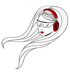 Young women with red headphones vector
