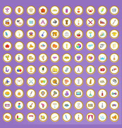 100 art icons set in cartoon style vector image
