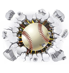 Baseball and Old Plaster wall damage vector image