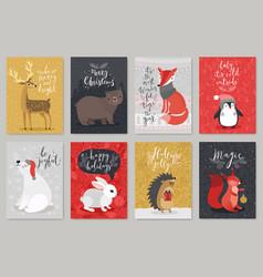 christmas animals card set christmas animals card vector image vector image