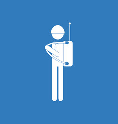icon soldier holding walkie talkie vector image vector image