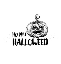 Jack pumpkin and typography greetings vector image vector image