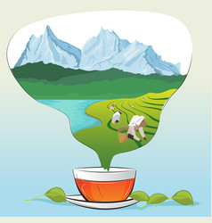 tea cup with leaves and tea plantations vector image