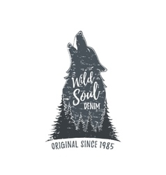Wolf howling grunge logo vector