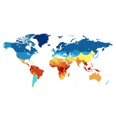 World map with countries colored from equator vector