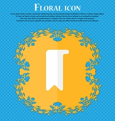 bookmark Floral flat design on a blue abstract vector image